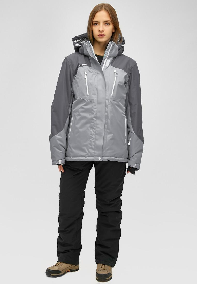 14f74ae1 Купить Женский зимний горнолыжный костюм большого размера серого цвета  01850Sr