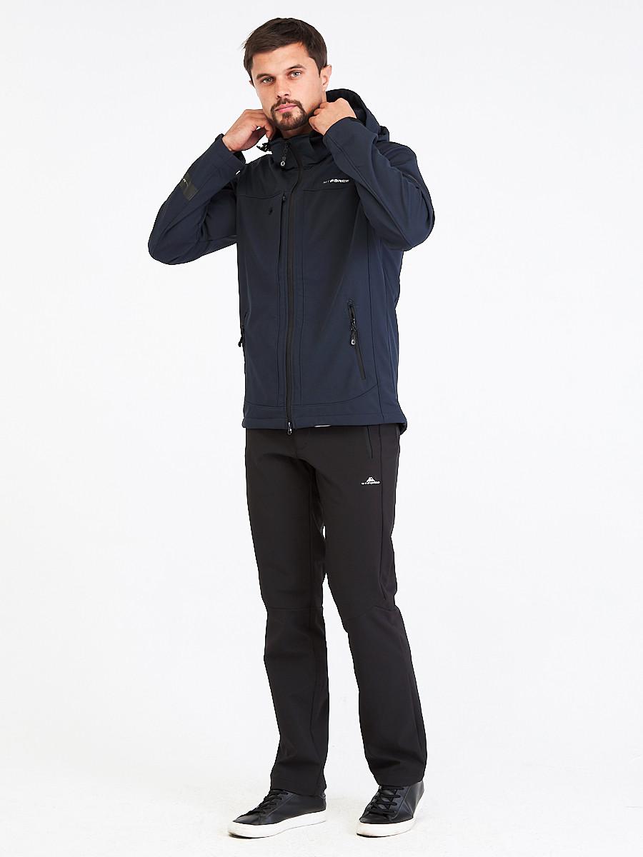 Купить Костюм мужской softshell темно-синего цвета 01915TS