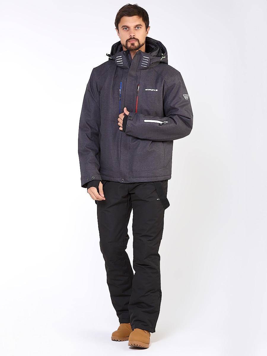Купить Мужской зимний горнолыжный костюм темно-серого цвета 01947TС