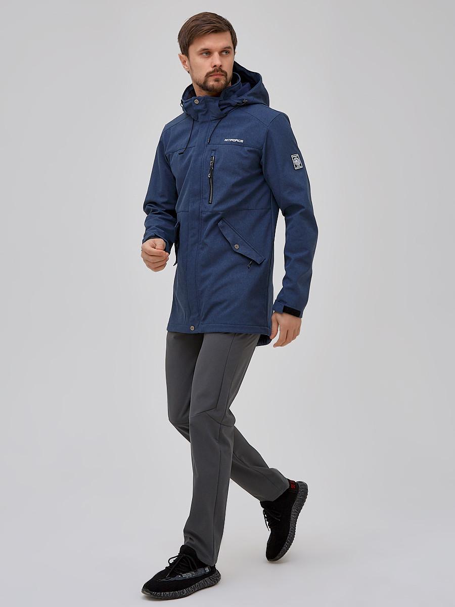 Купить Спортивный костюм мужской softshell синего цвета 02018S