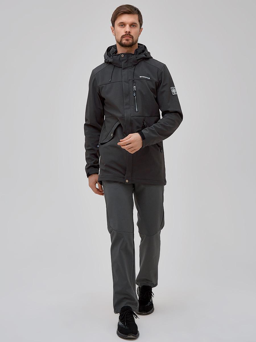 Купить Спортивный костюм мужской softshell темно-серого цвета 02018TC
