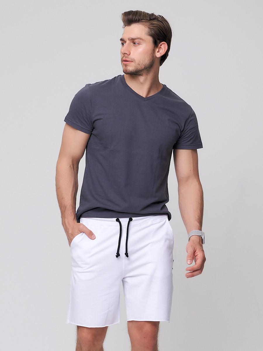 Купить Летние шорты трикотажные мужские белого цвета 050620Bl