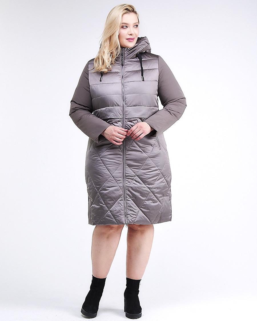 Купить Куртка зимняя женская классическая коричневого цвета 100-916_48K