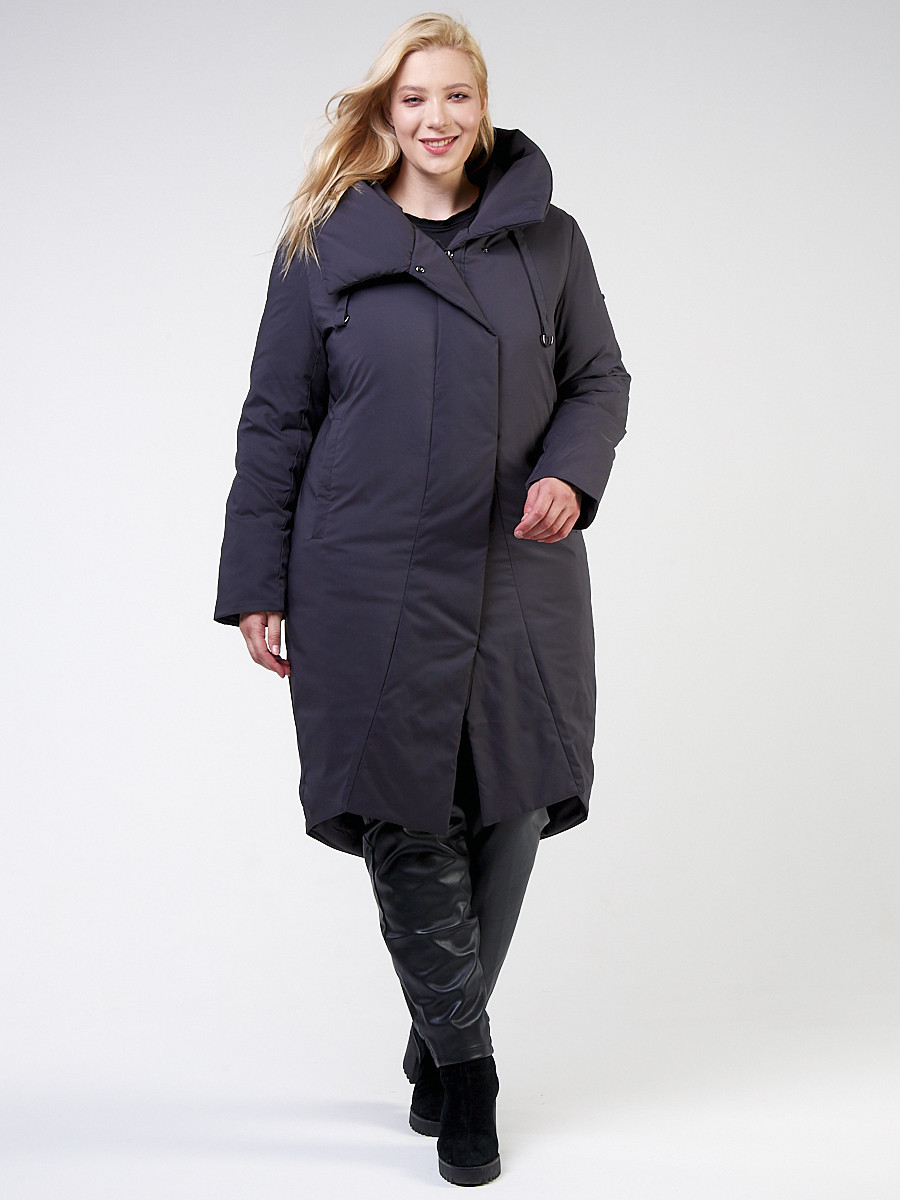 Купить Куртка зимняя женская классическая темно-серого цвета 118-932_18TC