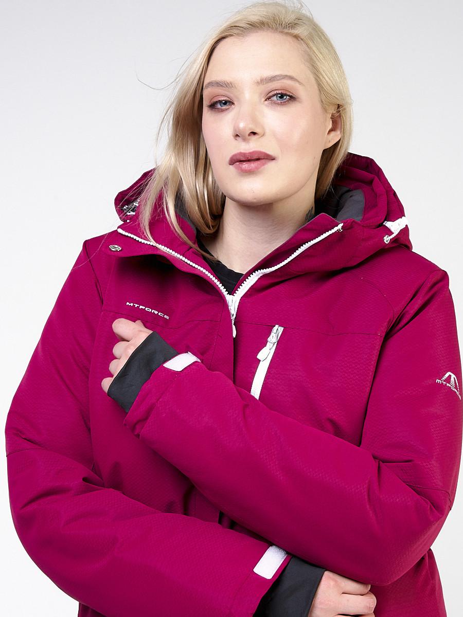 Купить Куртка горнолыжная женская большого размера малинового цвета 11982M