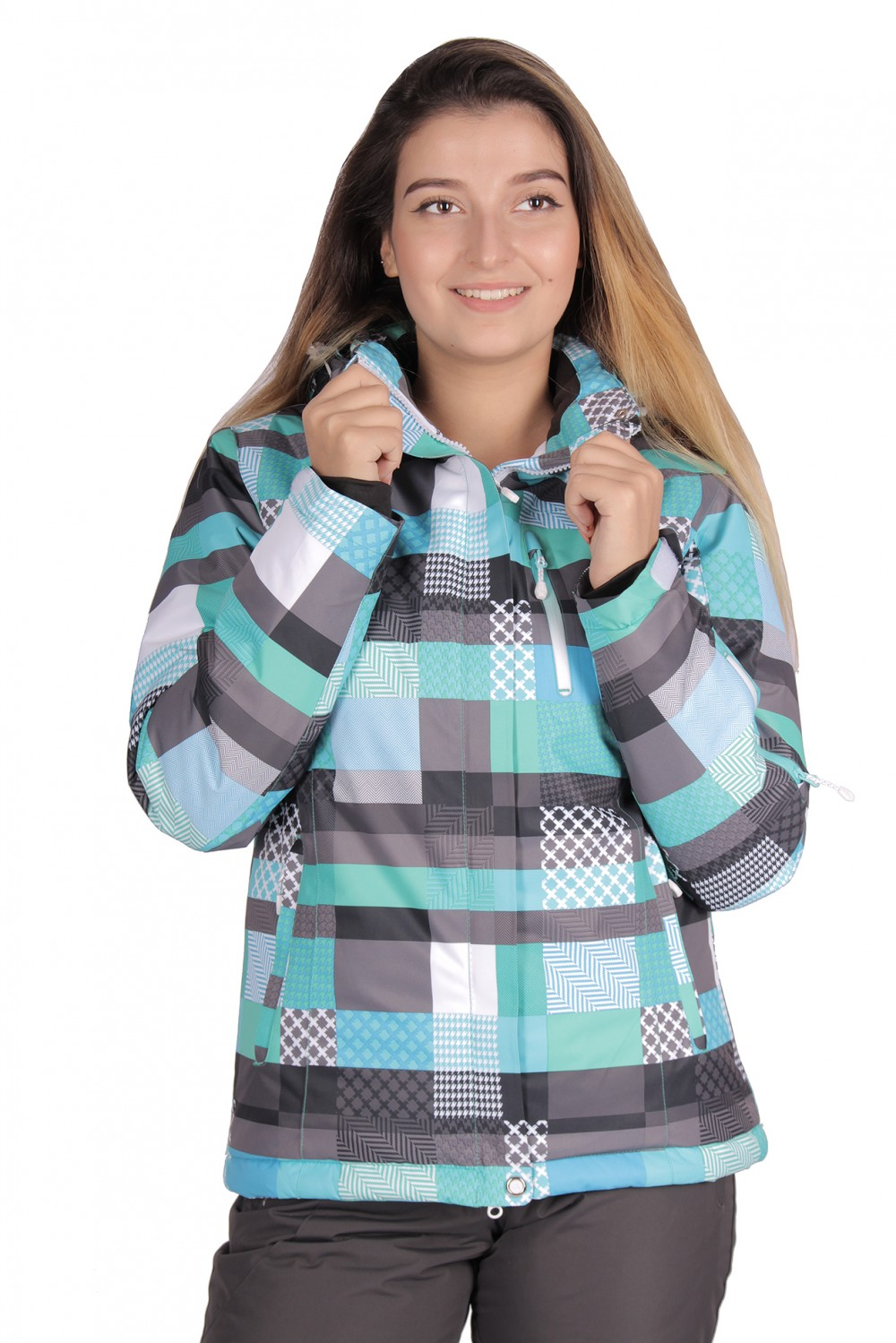 Купить Куртка горнолыжная женская бирюзового цвета 1784Br