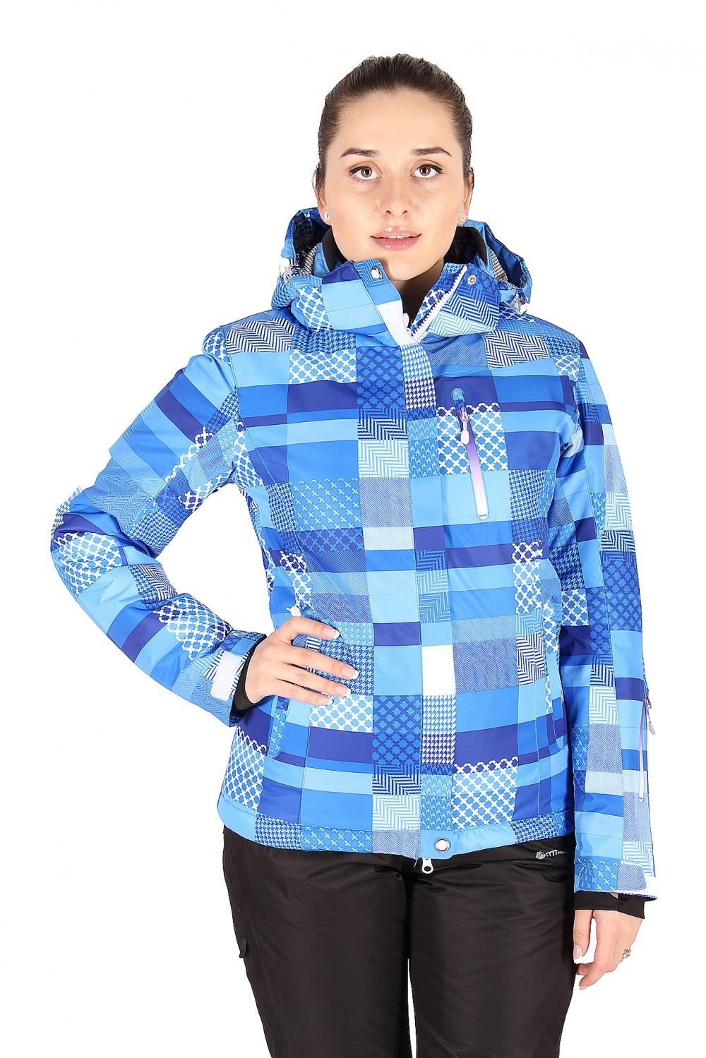 Купить Куртка горнолыжная женская синего цвета 1784S