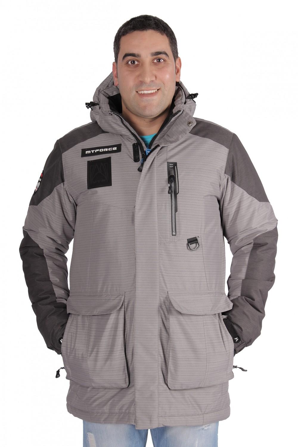 Купить Куртка зимняя удлиненная мужская серого цвета 1627Sr