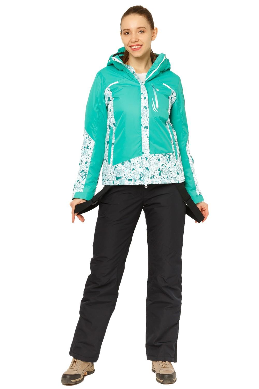 Купить Костюм горнолыжный женский зеленого цвета 017122Z