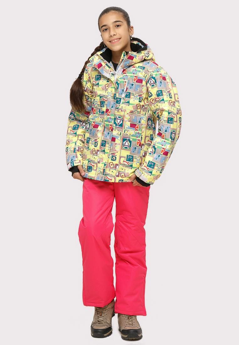 Купить Костюм горнолыжный для девочки желтого цвета 01774J