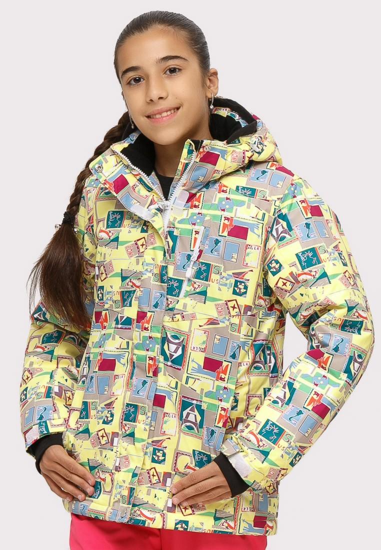 Купить Куртка горнолыжная подростковая для девочки желтого цвета 1774J