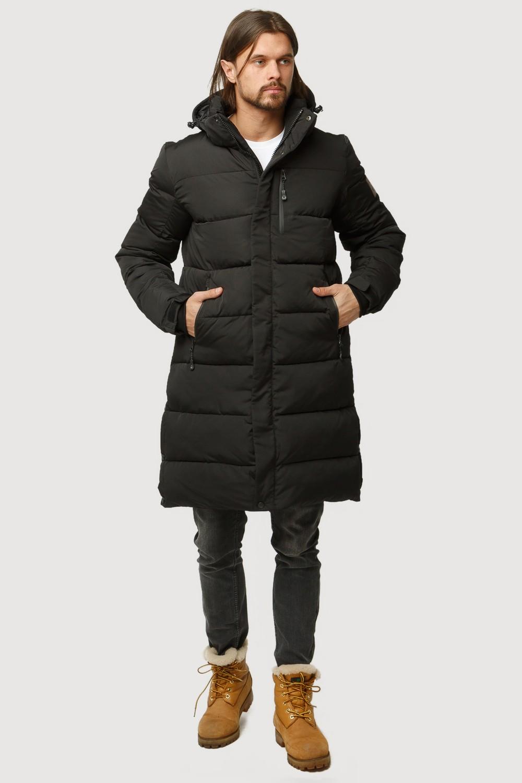 Купить Куртка зимняя удлиненная мужская черного цвета 1780Ch