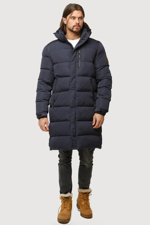 Купить Куртка зимняя удлиненная мужская темно-синего цвета 1780TS