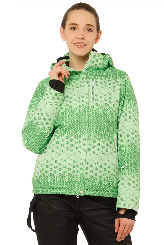 Купить Куртка горнолыжная женская зеленого цвета 1786Z