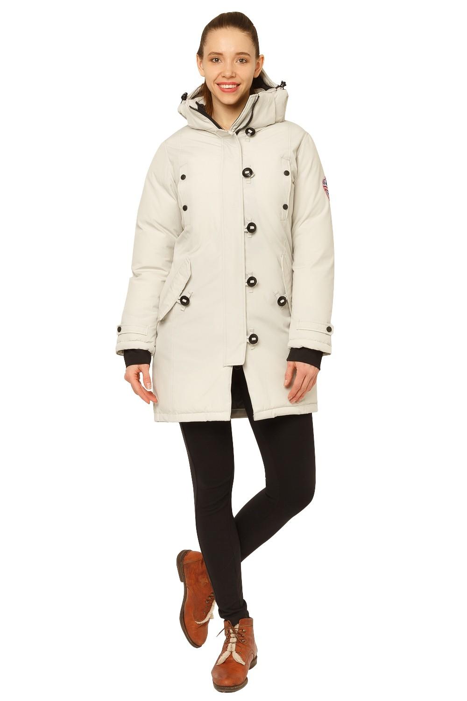 Купить Куртка парка зимняя женская бежевого цвета 1802B