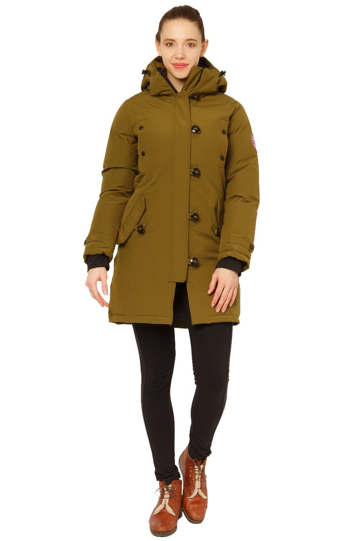 Купить Куртка парка зимняя женская цвета хаки 1802Kh