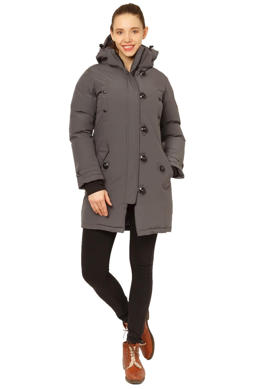Купить Куртка парка зимняя женская темно-серого цвета 1802TC