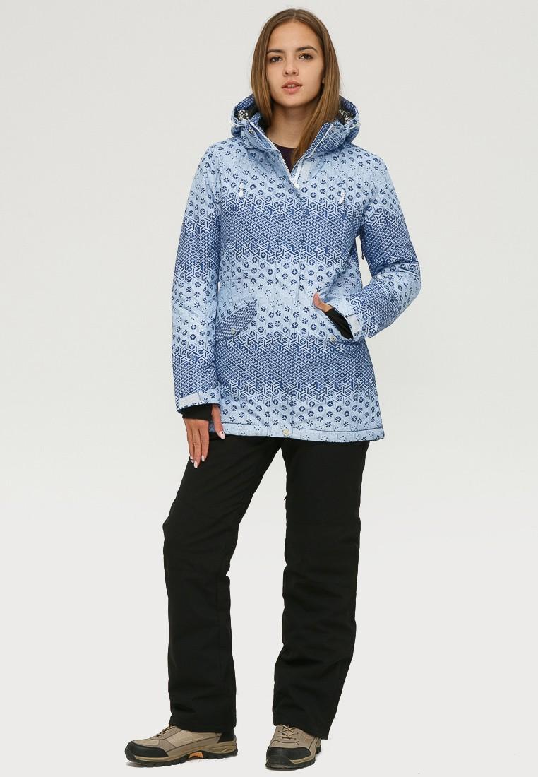 Купить Костюм горнолыжный женский синего цвета 01803S