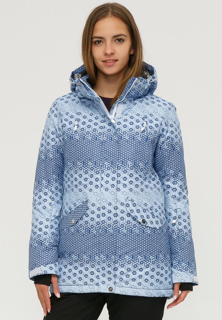 Купить Куртка горнолыжная женская синего цвета 1803S