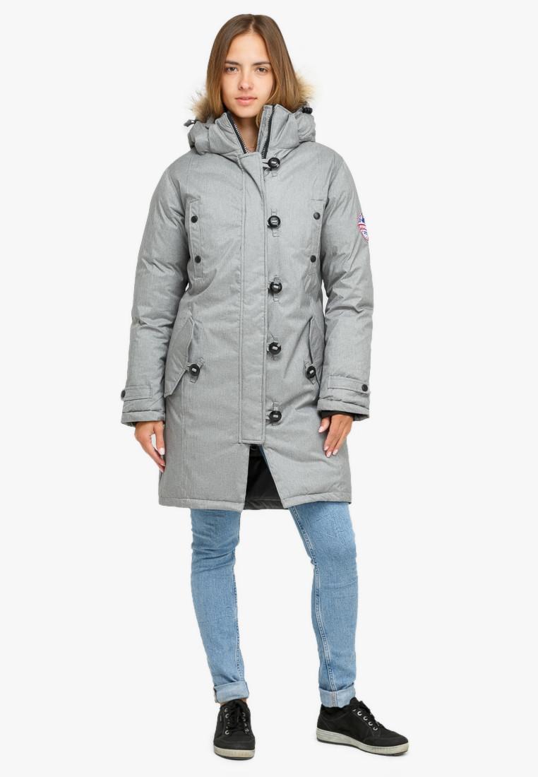 Купить Куртка парка зимняя женская светло-серого цвета 1805SS