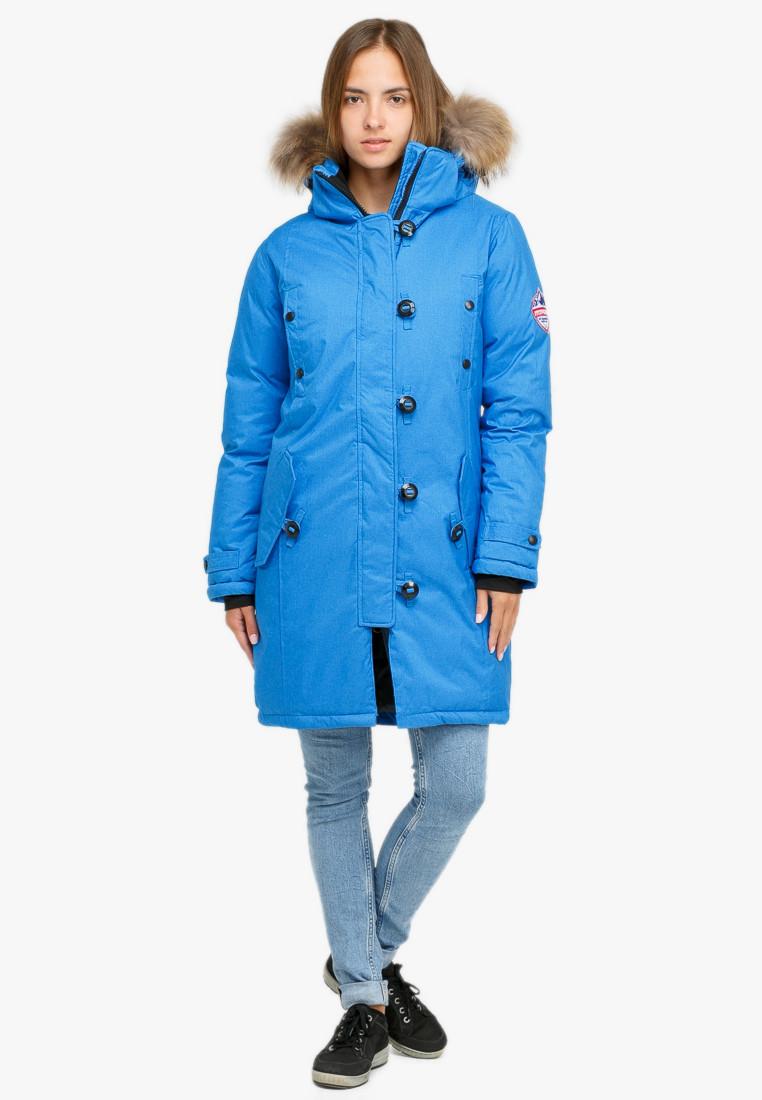 Купить Куртка парка зимняя женская синего цвета 1805S