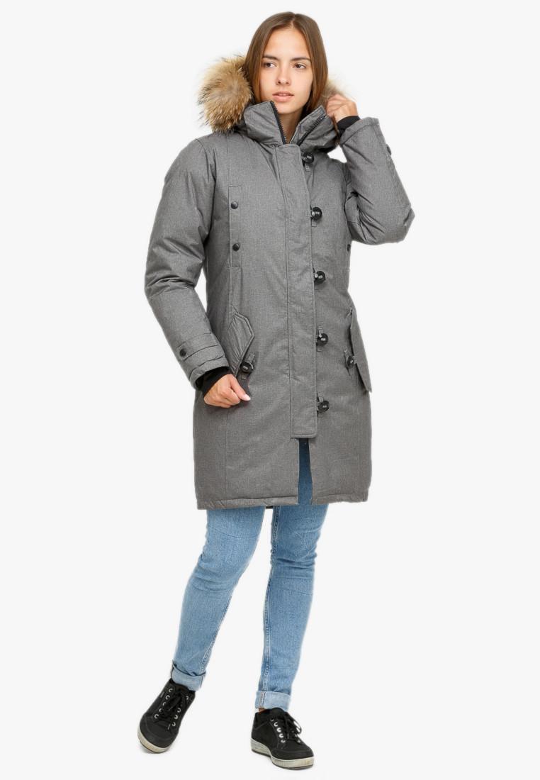 Купить Куртка парка зимняя женская серого цвета 1805Sr