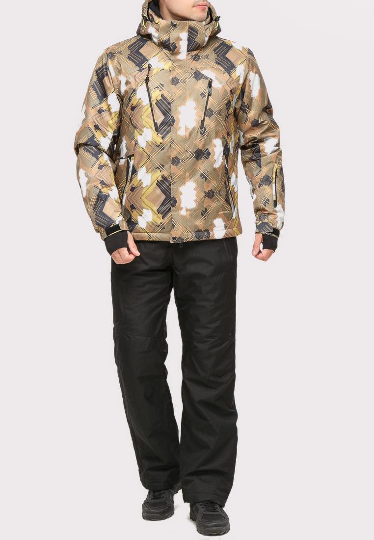 Купить Костюм горнолыжный мужской коричневого цвета 018108K