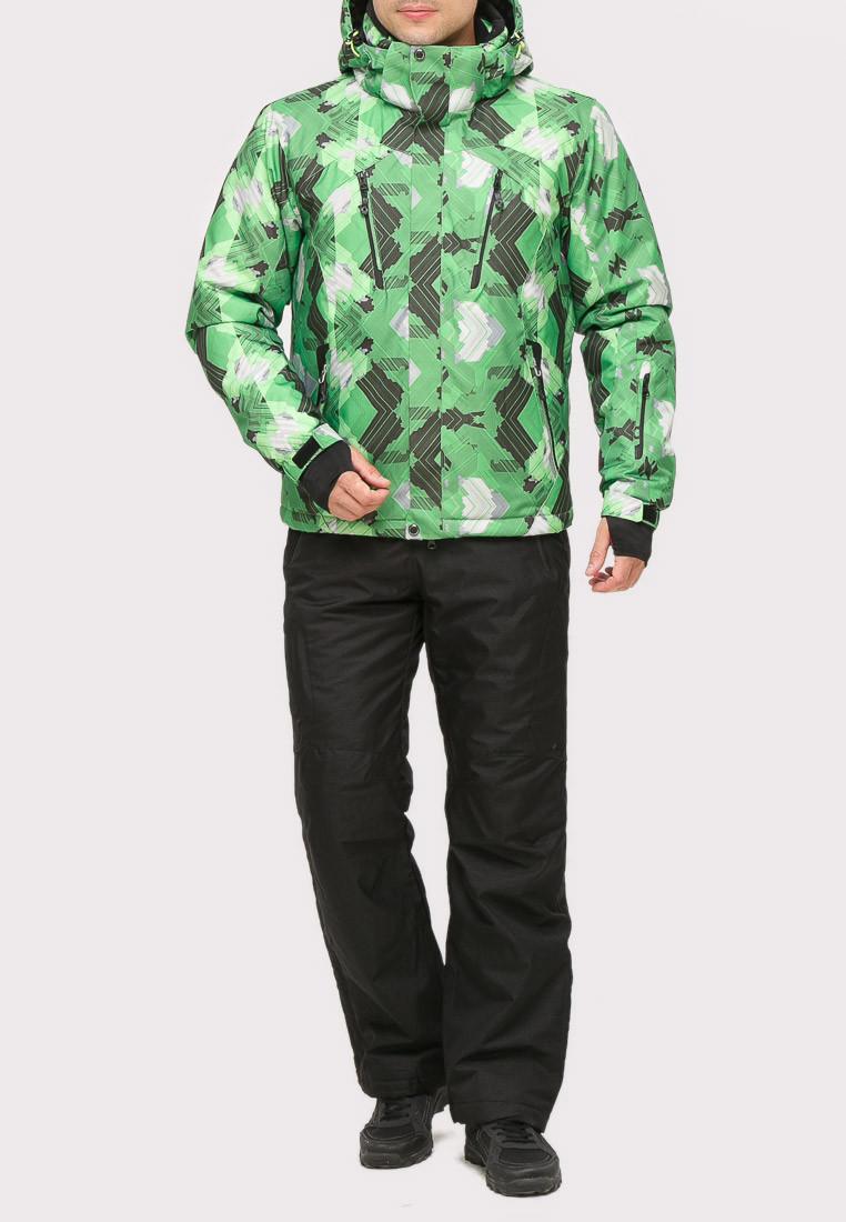 Купить Костюм горнолыжный мужской зеленого цвета 018108Z