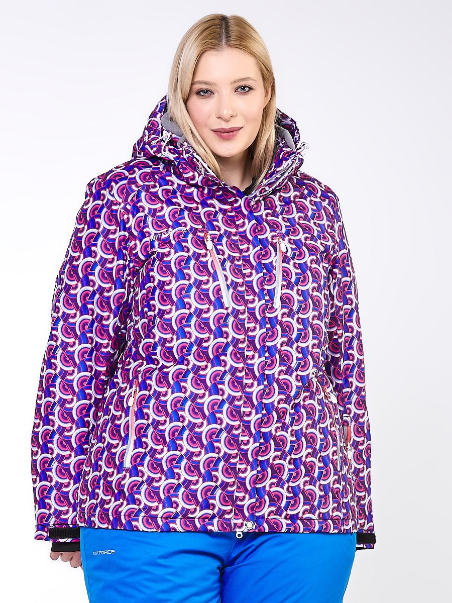 Купить Куртка горнолыжная женская большого размера фиолетового цвета 18112F