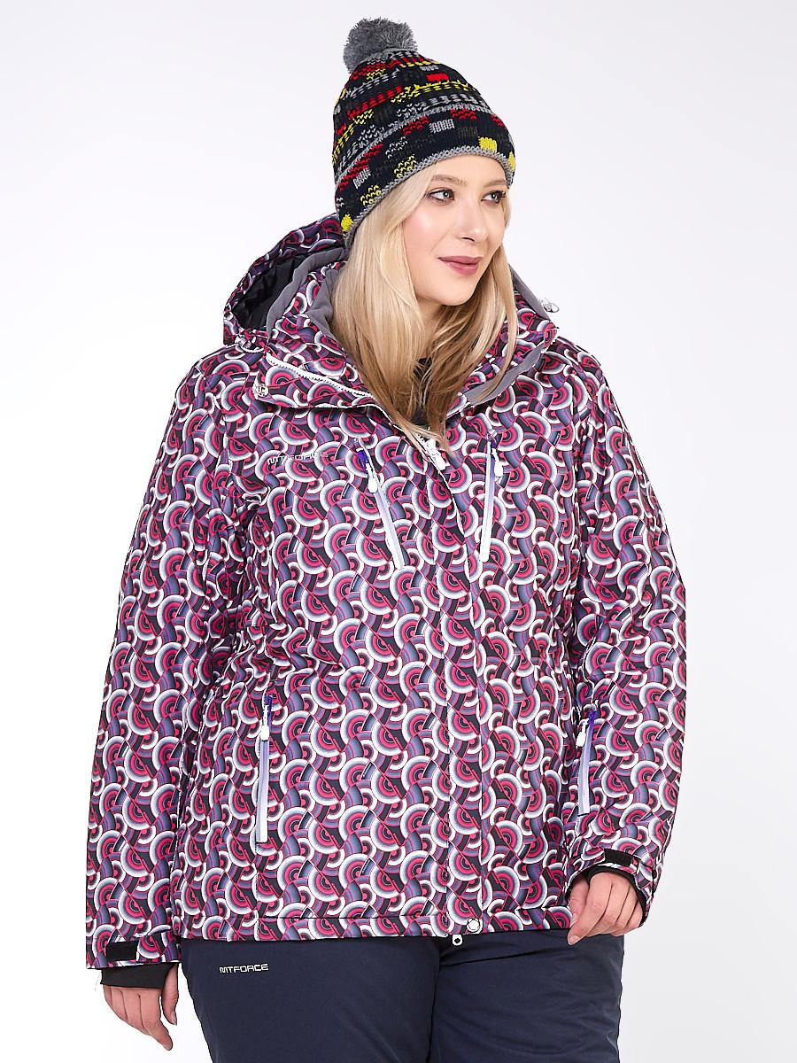 Купить Куртка горнолыжная женская большого размера малинового цвета 18112M