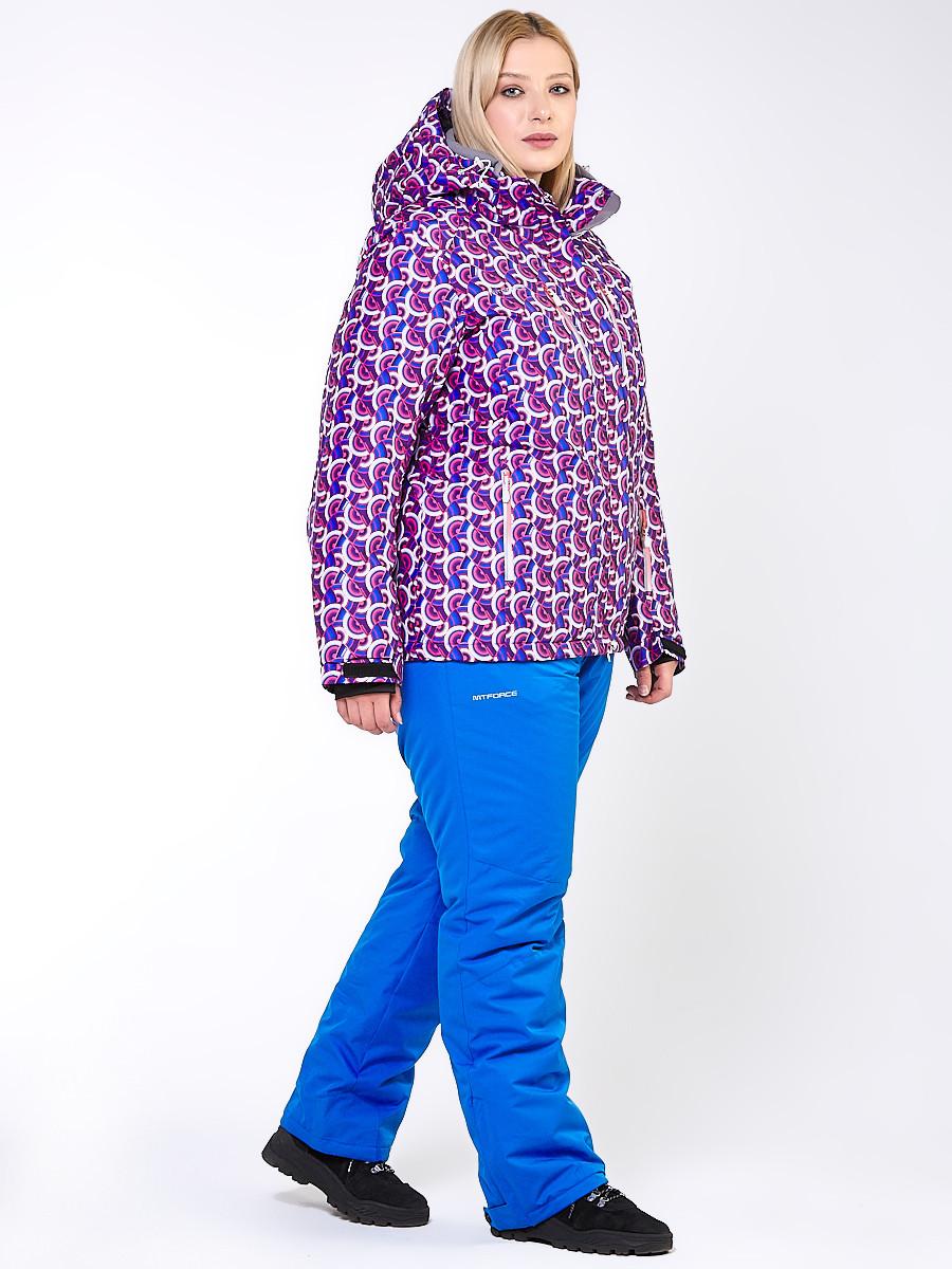 Купить Костюм горнолыжный женский большого размера фиолетового цвета 018112F