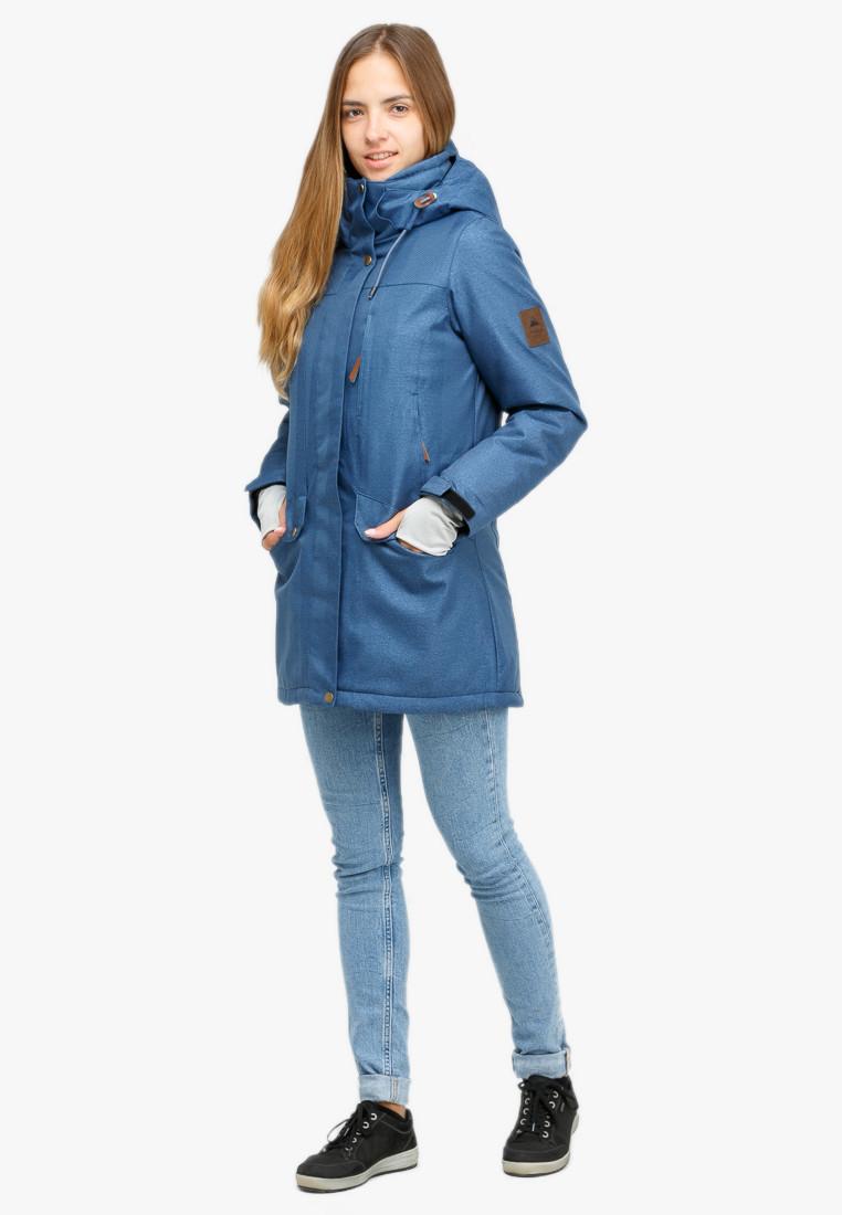 Купить Куртка парка зимняя женская голубого цвета 18113Gl
