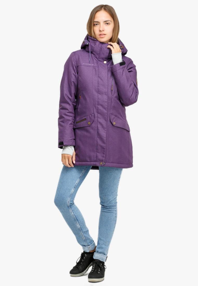 Купить Куртка парка зимняя женская фиолетового цвета 18113F