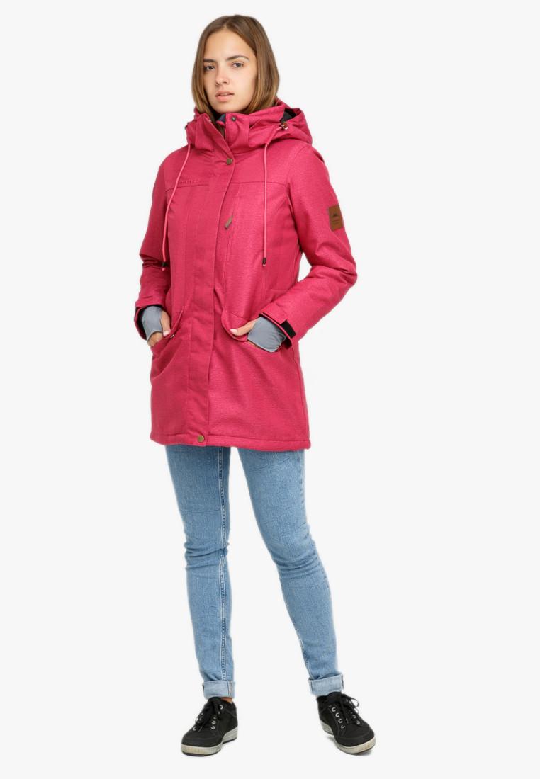 Купить Куртка парка зимняя женская малинового цвета 18113М