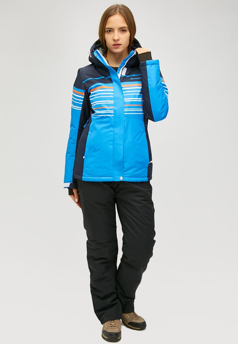 Купить Женский зимний горнолыжный костюм синего цвета 01856S