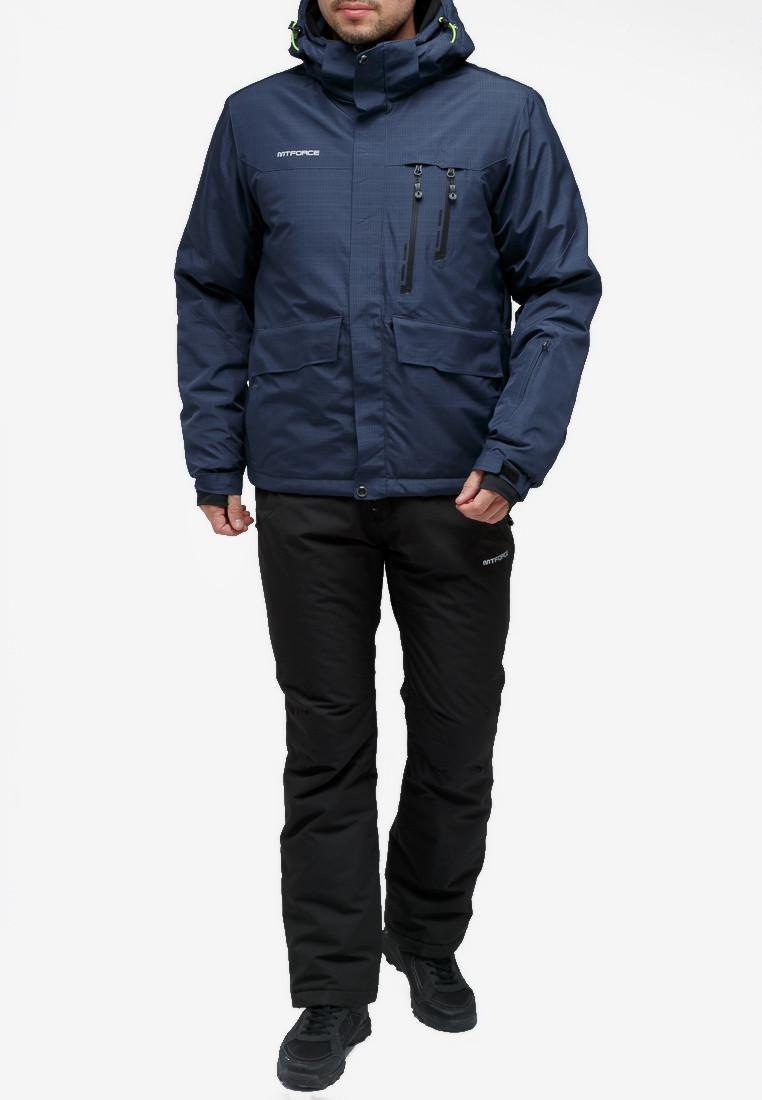 Купить Костюм горнолыжный мужской темно-синего цвета 018122TS