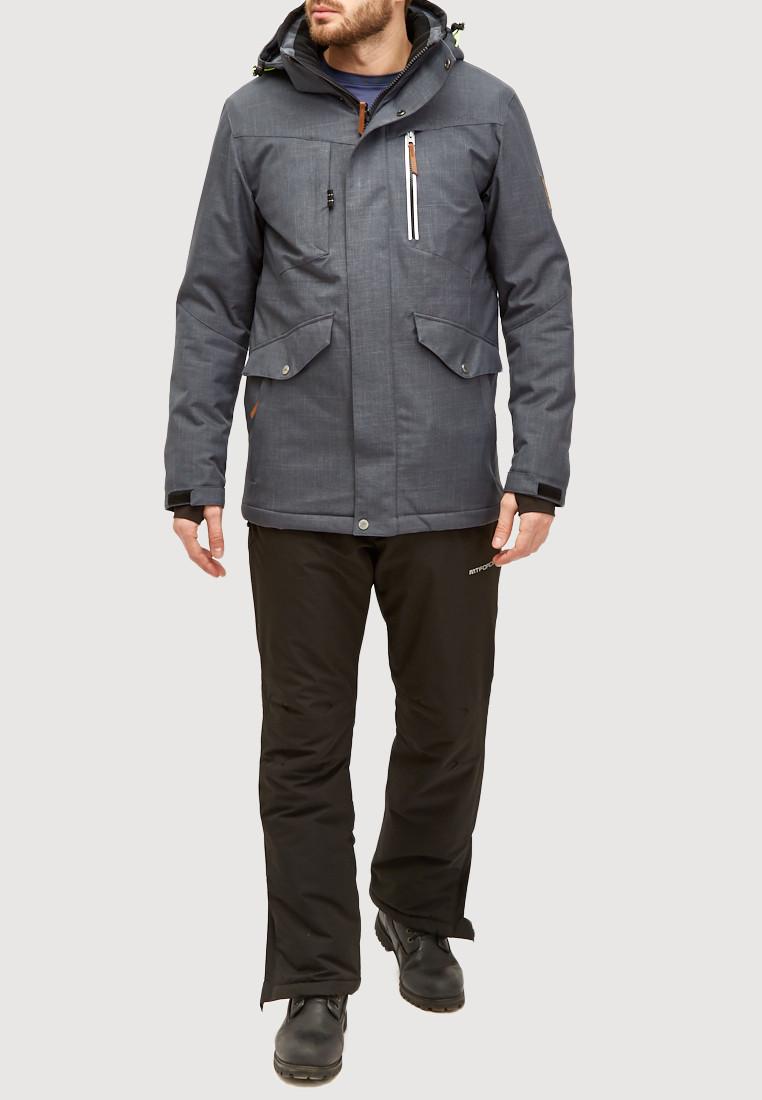 Купить Мужской зимний горнолыжный костюм серого цвета 018128Sr