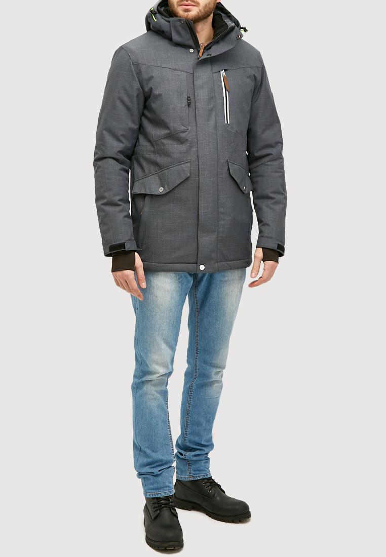 Купить Мужская зимняя горнолыжная куртка серого цвета 18128Sr