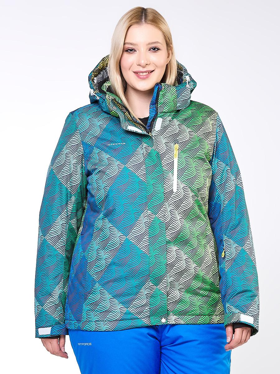 Купить Куртка горнолыжная женская большого размера салатового цвета 1830-2Sl
