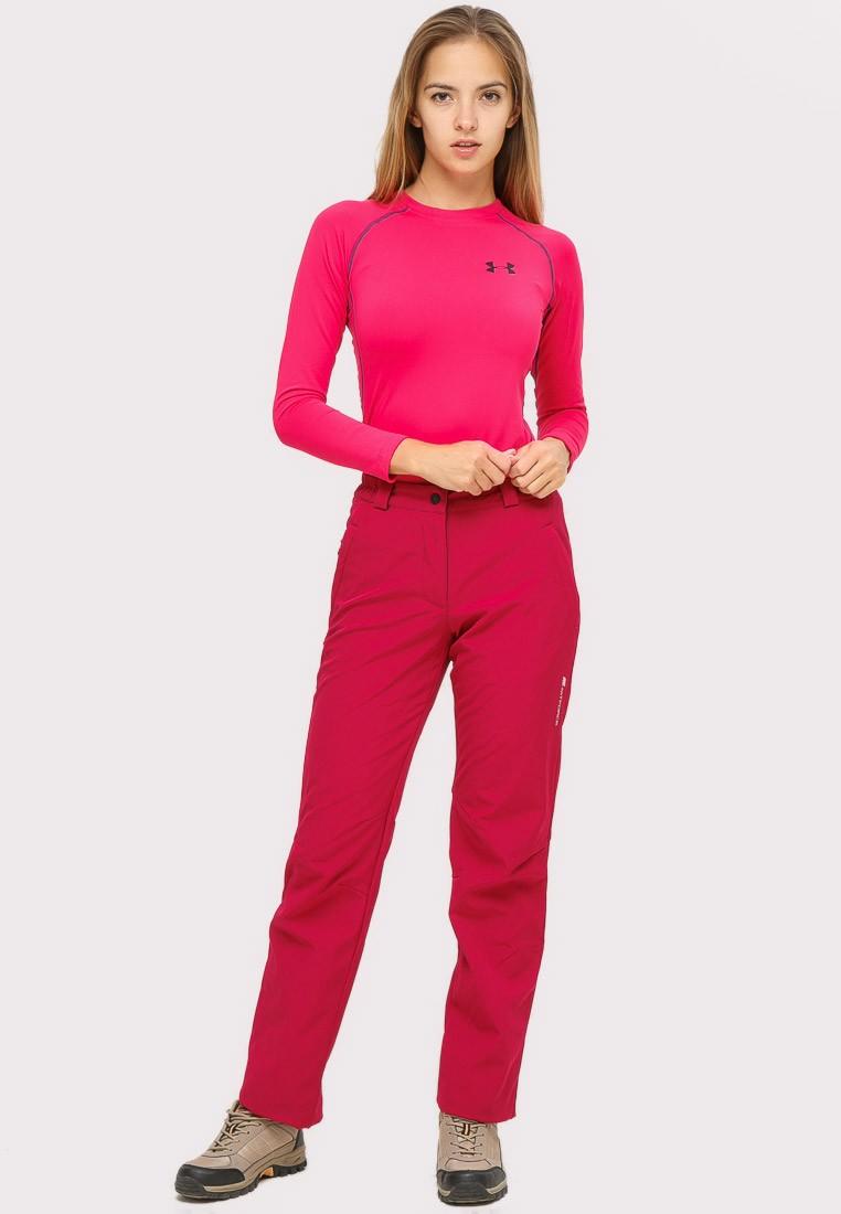 Купить Брюки женские большого размера бордового цвета  1852-1Bo
