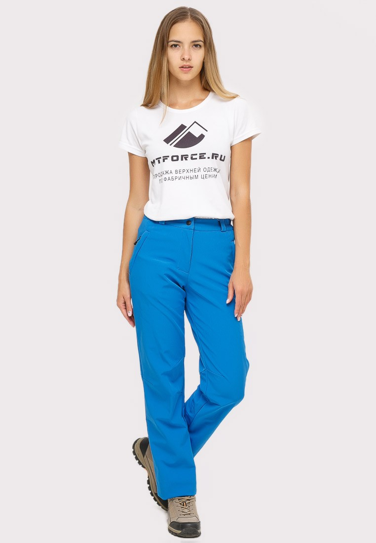 Купить Брюки женские из ткани softshell синего цвета 1851S