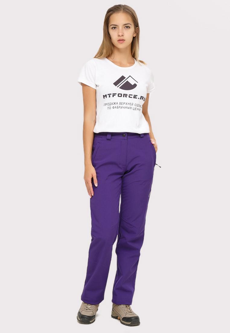 Купить Брюки женские из ткани softshell фиолетового цвета 1851F