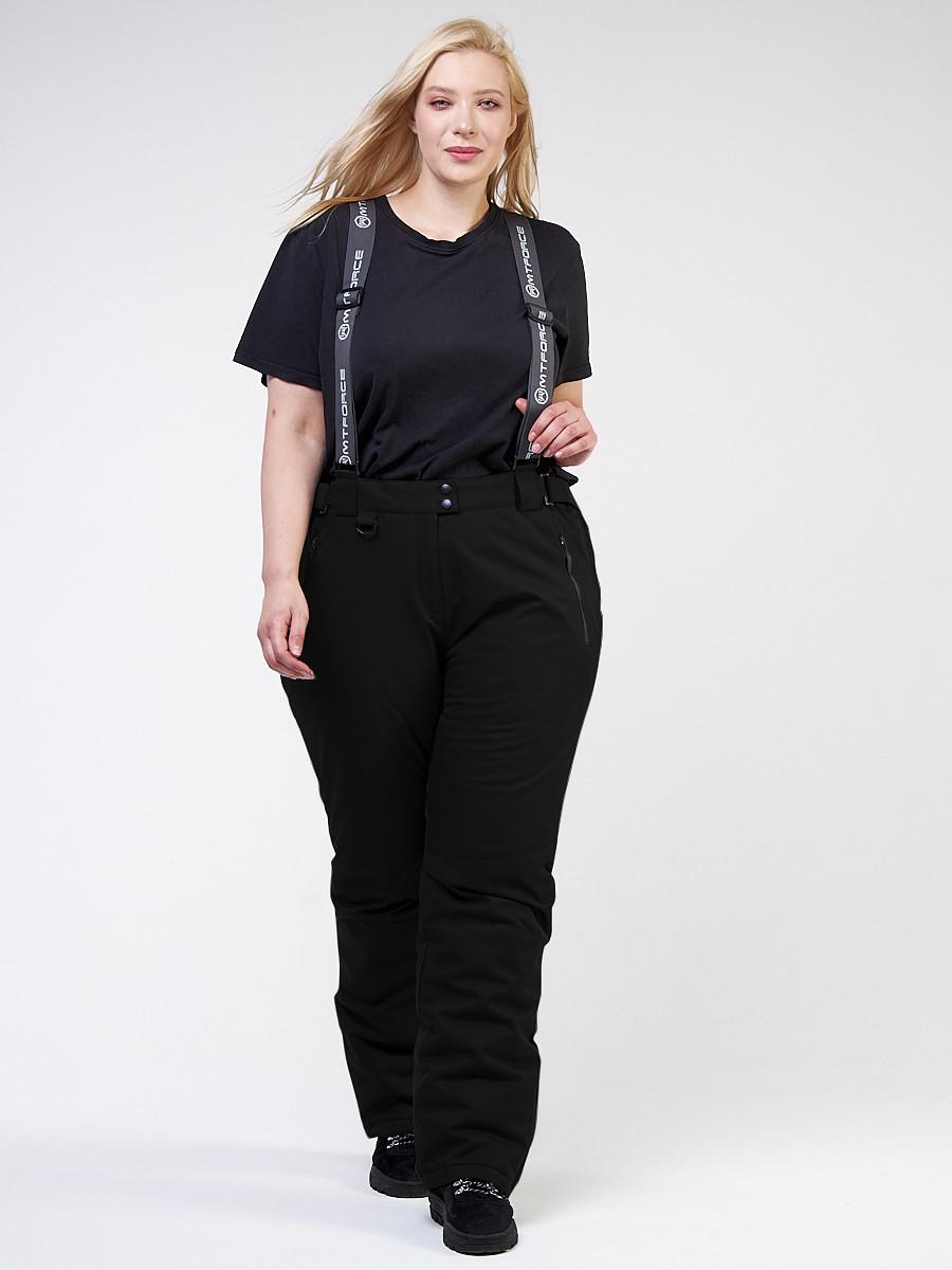 Купить Брюки горнолыжные женские большого размера черного цвета 1878Ch