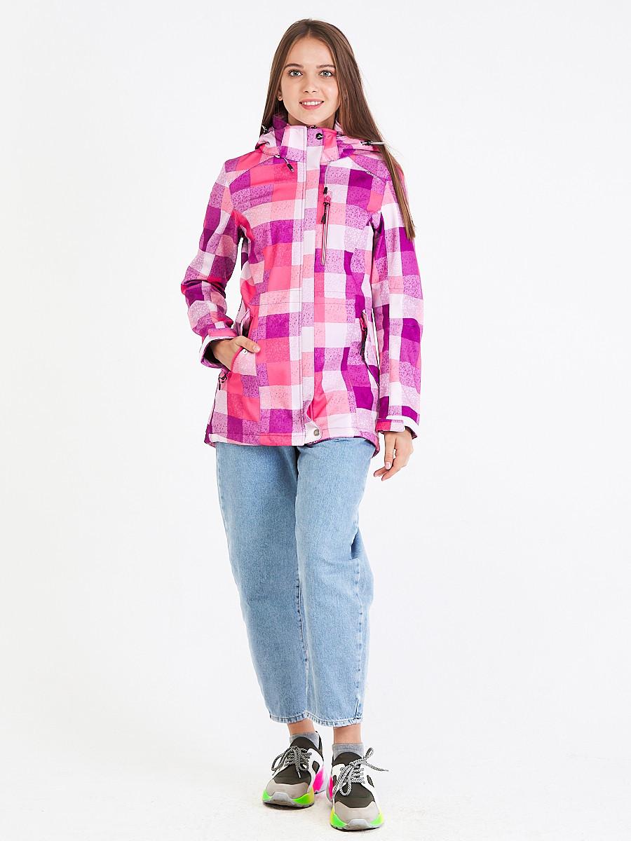 Купить Парка женская осенняя весенняя softshell розового цвета 1923R
