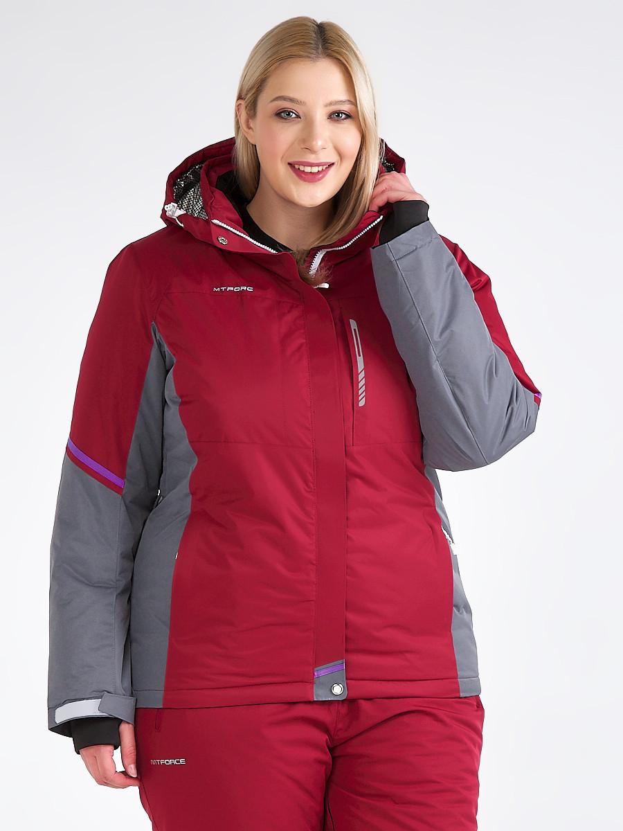 Купить Куртка горнолыжная женская большого размера бордового цвета 1934Bo