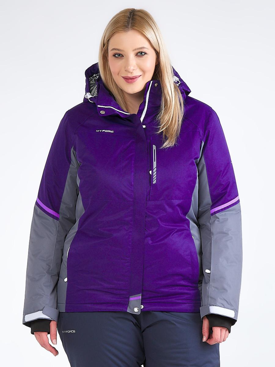 Купить Куртка горнолыжная женская большого размера темно-фиолетового цвета 1934TF