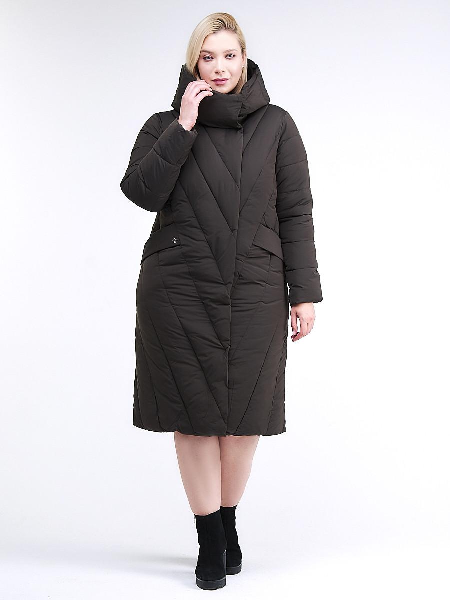 Купить Куртка зимняя женская классическая одеяло коричневого цвета 191949_09K