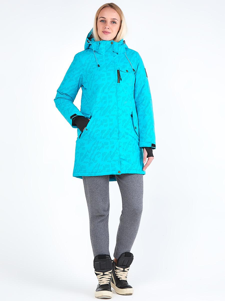 Купить Куртка парка зимняя женская голубого цвета 1949Gl