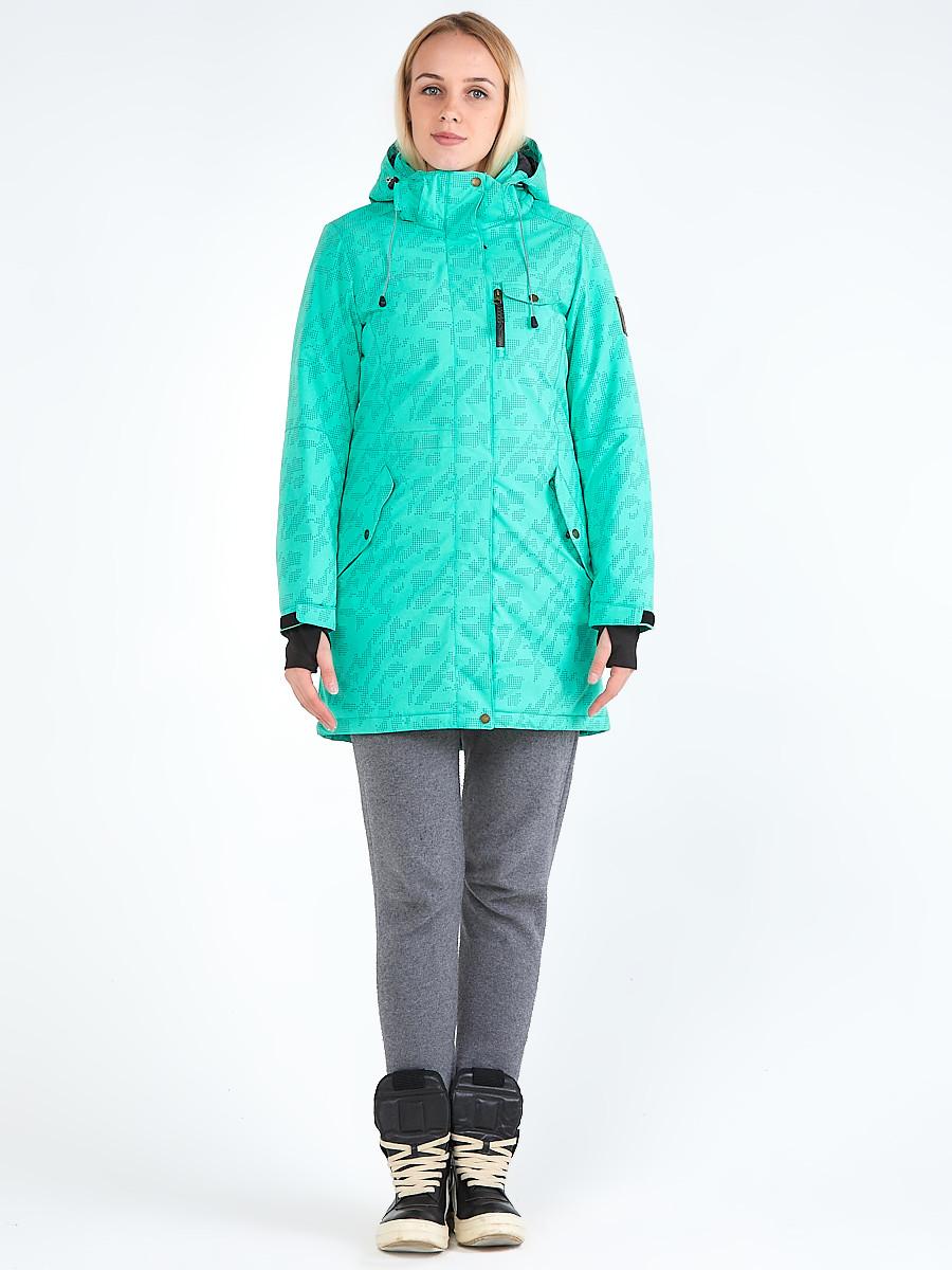 Купить Куртка парка зимняя женская зеленого цвета 1949Z
