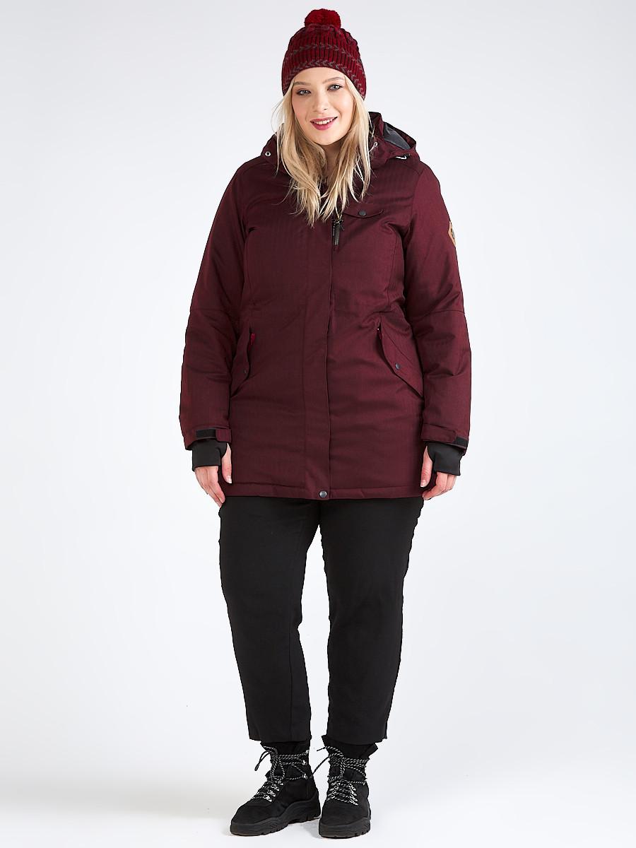 Купить Куртка парка зимняя женская большого размера бордового цвета 19491Bo